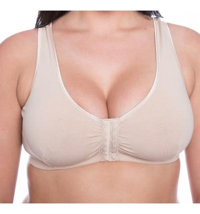 faa8eda8d6233 Gemm Ladies Cotton Lycra Non Wired Front Fastening Bra Nude
