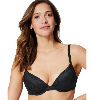 EX M&S Ladies Underwired Black Bra Lightweight Padded Push Up Lace Plunge
