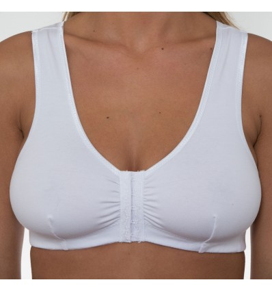 Gemm Ladies Cotton Lycra Non Wired Front Fastening Bra White